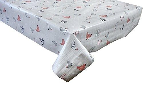 Linen702 Nappe en PVC PVC 2 mètres (200 x 137 cm) Motif à carreaux rouges et beiges sur gris à pois - Convient pour une table rectangulaire de 6 places, facile à nettoyer - Nappe en plastique (208)