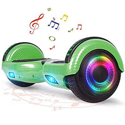 FLYING-ANT Hoverboard for Kids, 6.5 Inch Two Wheels Self Blancing Hoverboard with Bluetooth Speaker and LED Lights-Carbon Green