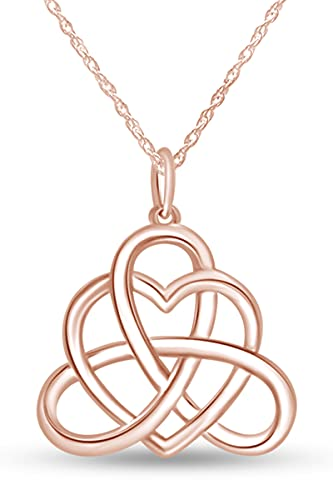 Jewel Zone US Good Luck Irish Triangle Heart Celtic Knot Vintage Pendant Necklace 14k Rose Gold Over Sterling Silver, 18' Chain