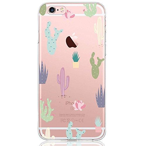 Oveo Funda iPhone 6 / 6S, Serie Dolce Vita Carcasa Transparente Silicona para Mujer/Chica con diseño de Flores Cactus Coloridas
