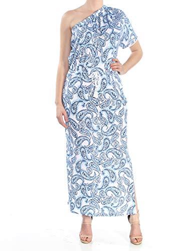 LAUREN RALPH LAUREN Womens Cotton One Shoulder Maxi Dress Blue XL
