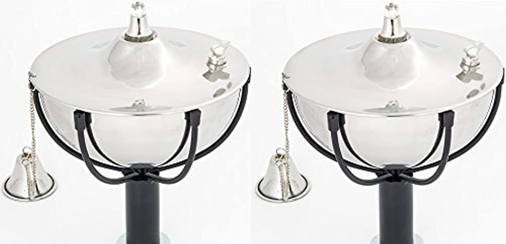 Maui Torch Set of 2, Landscape torch, Oil lamp, Tabletop Torch, Outdoor Lighting (Smooth Nickel)