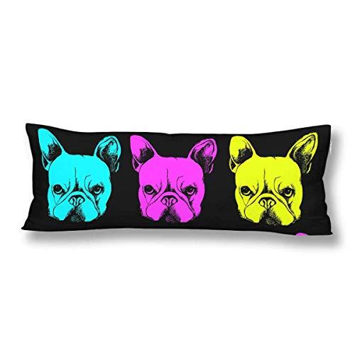 CiCiDi Body Pillow Case 5ft(50cm X 150cm) Cute Pet Animal Bulldog Soft Cotton Machine Washable with Zippers Maternity/Pregnancy Pillow Cover