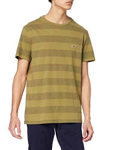 Tommy Jeans Hombre TJM Bold Stripe tee Camiseta Not Applicable, Verde (Uniform Olive Stripe 0cd), Small