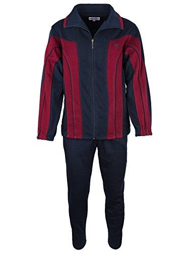 SOUNON Herren Baumwolle Trainingsanzug, Jogginganzug, Sportanzug, Freizeitanzug, Hausanzug Dunkelblau (M2), Groesse: XL