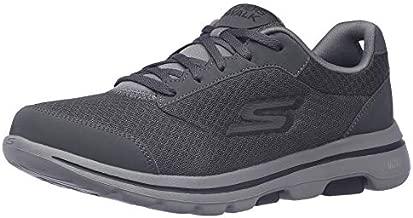 Skechers mens Gowalk 5 Qualify - Athletic Mesh Lace Up Performance Walking Shoe Sneaker, Charcoal/Black, 10 US