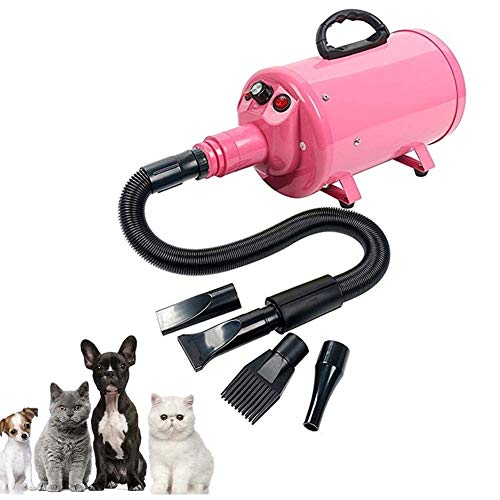 MC.PIG Pet Control 2800W Professional Stepless Velocidad Ajustable Pet Hair Force Secador silencioso Peluquería Canina con Calentador Incorporado para Perros, Gatos (Color : 110V)
