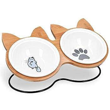 Navaris Lot 2X Bol en Céramique - Gamelle pour Chat Chiot 33x20x15 cm avec Support en Bambou - Set 2X Gamelle Surélevée avec Socle Design Chat