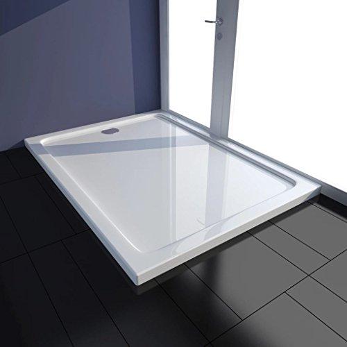 mewmewcat Receveur de Douche Construction ABS Solide avec Renforcement en Fibre de Verre Design Contemporain Blanc 80 x 110 x 4 cm