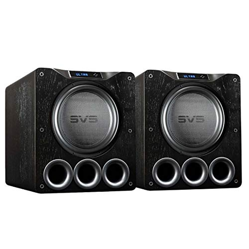 SVS Dual PB16-Ultra Subwoofer (Black Oak) – 16-inch Driver, 1,500-Watts RMS, DSP App Control, Ported Cabinet