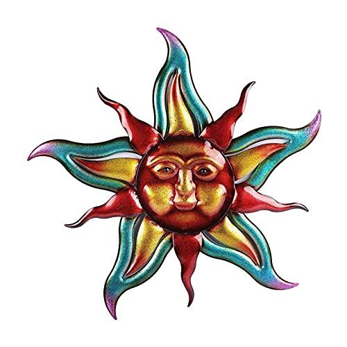 Metalen zonnewanddecoratie, gietijzeren zonnegezicht met ster muurkunst hangende decoraties, weerbestendig woondecoratie…