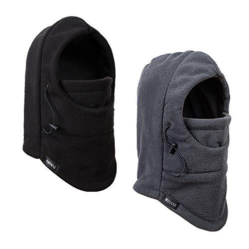 REDESS Kids Winter Windproof Hat, Unisex Children Heavyweight Balaclava, Ski Mask with Thick Warm Fleece Face Cover for Kids (Black&Dark Grey)