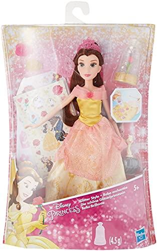 Hasbro Disney Princess Belle Glitter Abito Decorabile con Brillantini e Adesivi