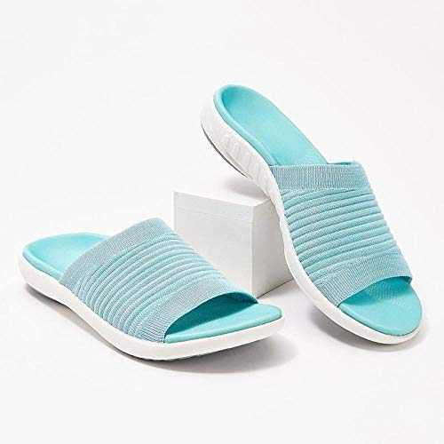YYFF Zapatos de Playa y Piscina para,Pantofole piatte da indossare sul pavimento,Moda Donna-Cielo BLU_36,Sandalias con Plataforma Plana Hombre