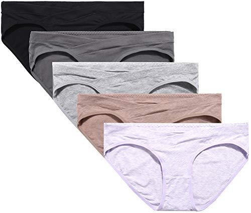 5PACK Maternity Underwear Cotton Pregnancy Maternity Panties Underwear Under Bump for Pregnant Women.Sort 5P-B,XLarge