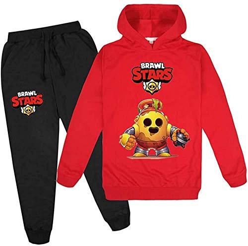 Brawl Stars Youth Fshion Logo Hoodie und Sweatpants 2 Stück Pullover Sweatshirt Anzug für Jungen Mädchen Jugendliche Teens Gr. 9-10 Jahre, Brawl Stars5