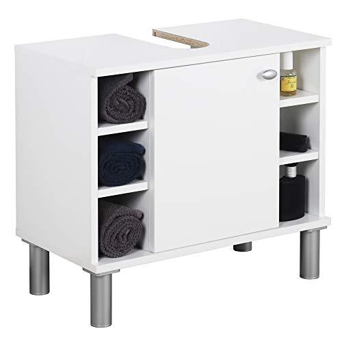 RICOO WM100-W-W Waschbecken Unterschrank Badezimmer Waschtisch Klein Holz und Türe Weiß Badschrank für Bad Gäste WC ohne Becken