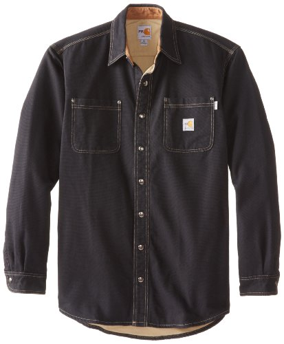 Carhartt Men's Big & Tall Flame Resistant Canvas Shirt Jacket,Black,Large Tall