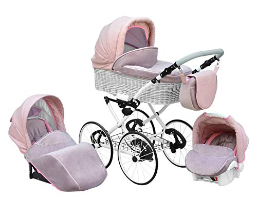 SKYLINE Klassisch Retro Stil Wicker LUX Kombi-Kinderwagen Buggy 3in1 Reise System Autositz (Isofix) (Light Pink/17