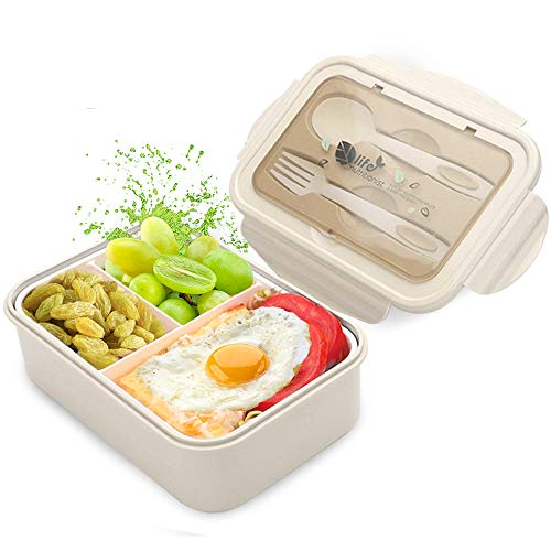 Fambrera Infantil, Lunch Box, Fiambrera con 3 Compartimientos, Cuchara Tenedor Lonchera, Bento Box Sostenible, para Microondas y Lavavajillas. (Beige)