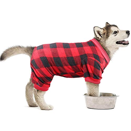 Red Plaid Dog Pajamas Soft Flannel Pjs for Dog Pet Clothes Warm and Cozy (L)