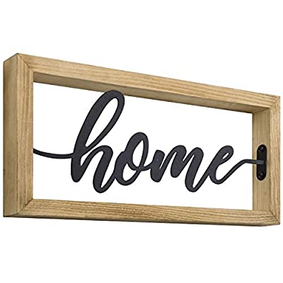 MyGift Tabletop/Wall Mounted Light Brown Burnt Wood & Black Metal Decorative Home Sign