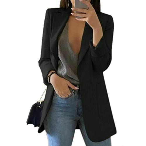 MEIYIN Blazer feminino 15 cores plus size slim casual casaco de carreira longo, Preto, XXG