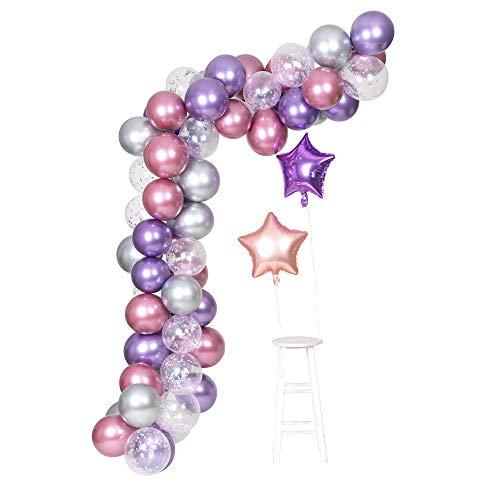 Púrpura Metálico Cromo Rosa Plata Globos Guirnalda Arco Kit 62 Piezas Unicornio Tema Boda y Cumpleaños Decoración Globos Fiesta