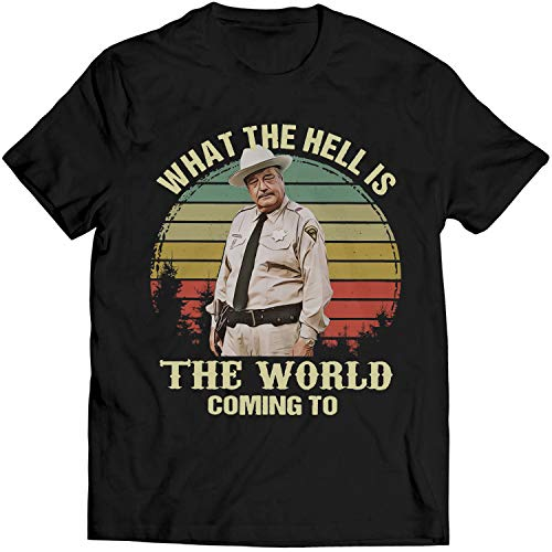 What The Hell is The World Coming to Vintage Shirt Buford T. Justice Lovers Shirt Smokey and The Bandits Men T-Shirt (XL, Black)