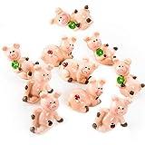 8 Stück kleine Glücksschweinchen 2,5 cm rosa-rot Kleeblatt Glücksbringer Streu-Deko Streuteile Tischdeko Schwein Glücksschwein Gastgeschenk give-away Mitgebsel