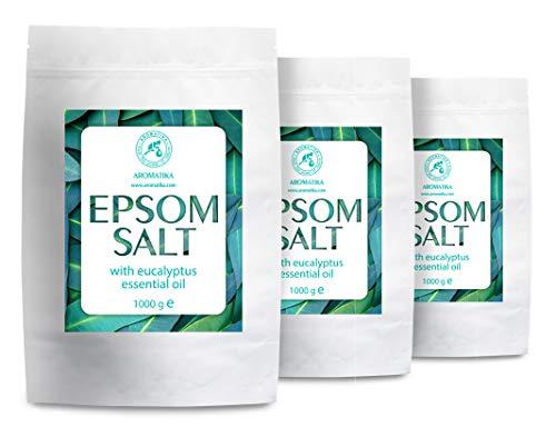 Sal Inglesa de Baño con Aceite Esencial de Eucalipto - 3kg - Sal de Epsom - Cristales de Sulfato de Magnesio para Aliviar el Dolor Muscular - Cuidado de la Piel - Relajación Muscular - Buen Sueño