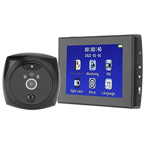 Lazmin112 Kit de Timbre con Video, cámara electrónica Inteligente HD de 4.3 Pulgadas, Visor de Puerta, visión Nocturna, Ojos de Gato electrónicos con detección y reconocimiento de Movimiento