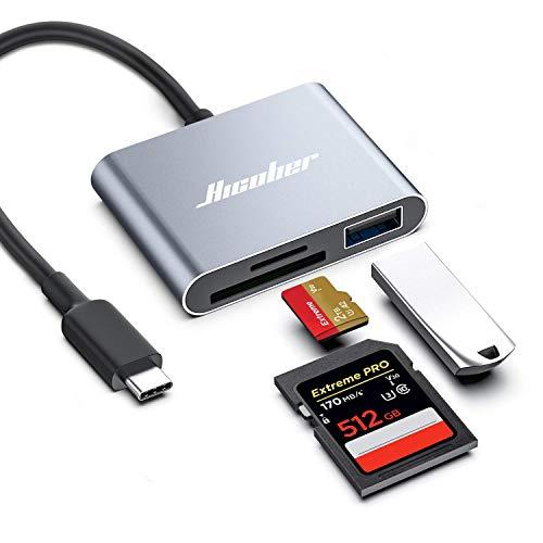 Hicober - Lector USB C de tarjetas SD y micro SD, capacidad de 2TB, para cámara, MacBook, Android, Windows, Linux y otros dispositivos tipo C, color gris