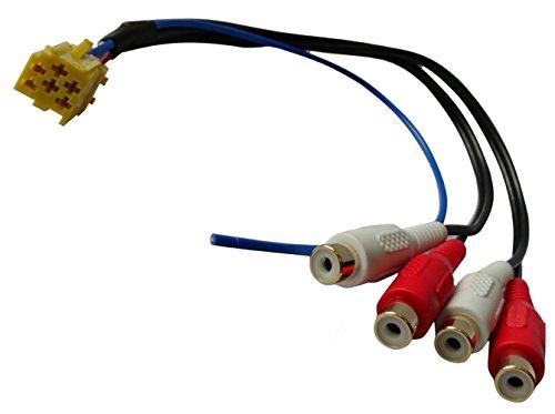 Aerzetix: Steckeradapter Steckdose Mini ISO gelb bis 4 Cinch für vorverstärkte Lautsprecher-Gehäuse Auto Auto zurück, bevor Funkstellen