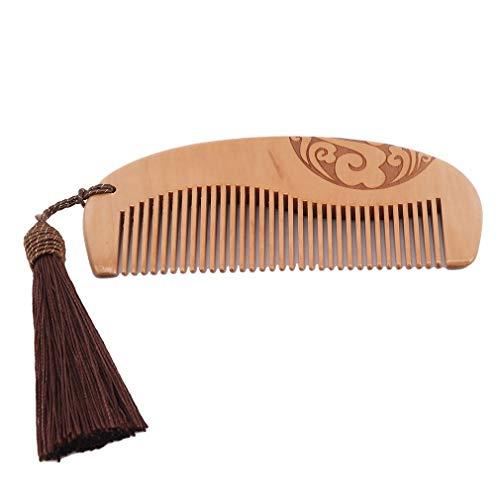 HENGSONG Peigne À Cheveux Avec Gland - Bois Avec Brosse Antistatique Et Sans Accroc Pour La Barbe, Les Cheveux, La Moustache, Le Brun