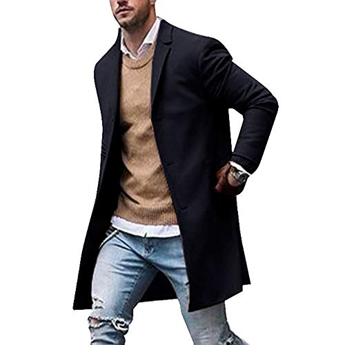Shujin Herren Winterjacke Mantel Männer Jacke warme Winter Trenchcoat Lange Outwear Button Wollmantel Windjacke mit Reverskragen