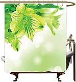 Frische Lilie-Blüten-Blüte mit Blättern Bokeh-Hintergr& Gartenpflanze Lindgrüner apfelgrüner Duschvorhang