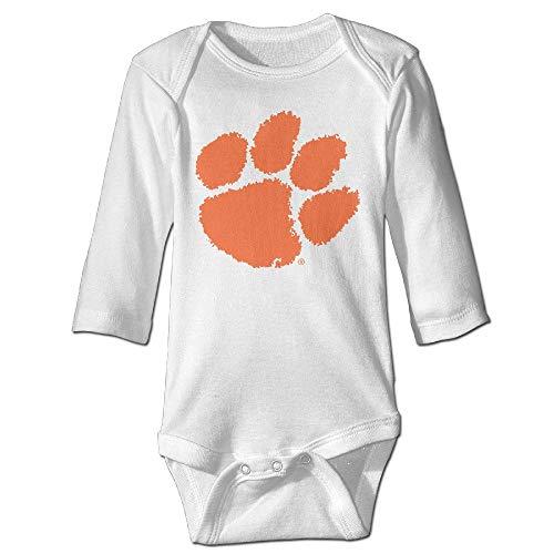 tangdouou Baby Kleinkinder 100% Baumwolle Langarm Onesies Kleinkind Bodysuit Clemson University Tiger Paw Logo Babykleidung 18M