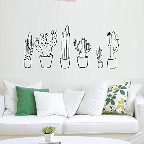 Cactus Blanco y Negro Conjunto Calcomanía de pared Planta Primavera Cactus Planta en maceta Verde natural Calcomanía para sala de estar Etiqueta de la pared Otro color 123x56cm