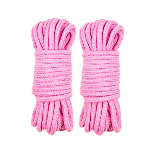 QH Soft Cotton Rope(5/16 Inch x 32 Feet) - Durable Comfortable Multipurpose Rope,Set of 2 (Pink)
