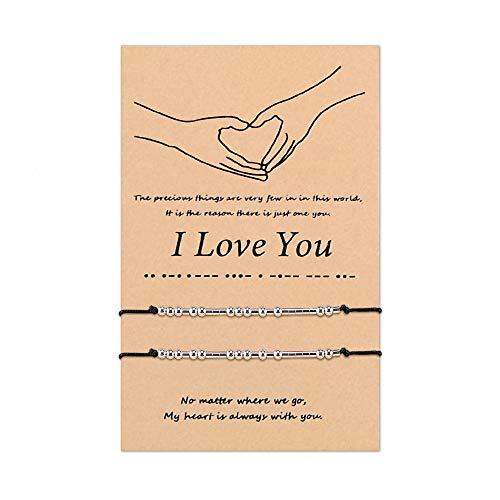 SUNSH 2 piezas Pinky Promise I Love You Código Morse Pulseras a juego para mujeres adolescentes Hombres Pulsera ajustable a mano para parejas Novio Novia Madre Hija Amistad Joyería