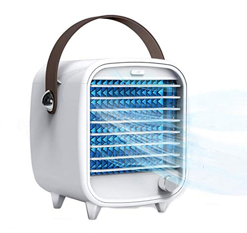 Portable Air Conditioner, Mini Desktop Air Cooler Fan, USB Personal Space Cooling Fan, Built-in Ice Box, Night Light, Adjustable wind speed, Small Refrigeration Fan for Home Office Bedroom