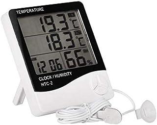 جهاز الطقس لقياس الحرارة والرطوبة بشاشة ال سي دي ديجيتال HTC-2 يحتوي على ساعة وإنذار داخلي وخارجي ومسبار