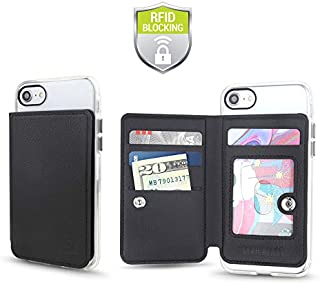 Cell Phone Credit Card Holder Stick On Wallet w/ RFID Protection Compatible with iPhone, Galaxy & Other Smartphones and Cases Multiple Credit Card Slots Transparent ID Pocket Pouch Universal Fit