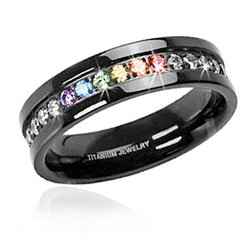 (1) Jet Black Rainbow Super Full String Clear & Rainbow Ring. Gay & Lesbian Pride Stainless Steel Ring. Wedding Marriage or Engagement Band CZ Stones. LGBT Pride Jewelry - 7