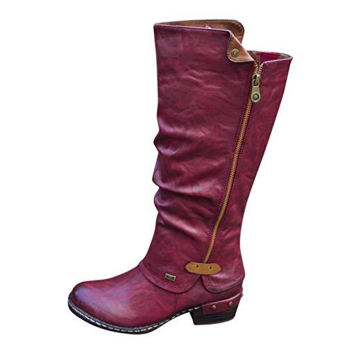 Yowablo Damen Stiefel Langschaftstiefel Mode im westlichen Stil Cowboy-Reitstiefel Freizeitknie Mittelrohrstiefel (39 EU,rot)
