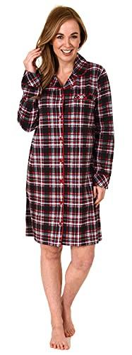 NORMANN-Wäschefabrik Elegantes Damen Nachthemd zum durchknöpfen in Karo-Optik - auch in Übergrössen - 212 821, Farbe:rot, Größe:52-54
