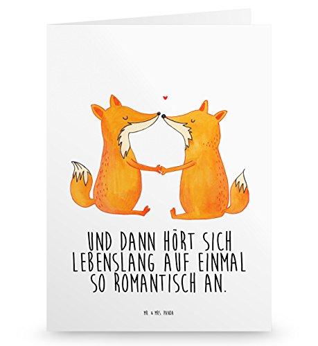 Mr. & Mrs. Panda Geburtstagskarte, Einladungskarte, Grußkarte Füchse Liebe mit Spruch - Farbe Weiß
