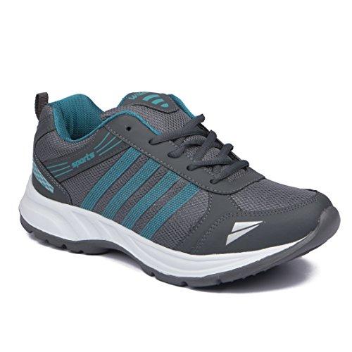 Asian shoes Men's Running Shoes Grey Firozi Mesh 8 UK/Indian