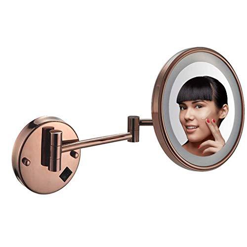 HGXC Espejo de Maquillaje Soporte de Pared Espejo de Afeitar para baño de 8 Pulgadas Montado en la Pared, Magnificación 5X iluminada